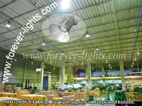 150W,200W UFO high bay light applied in Bangkok Thailand.