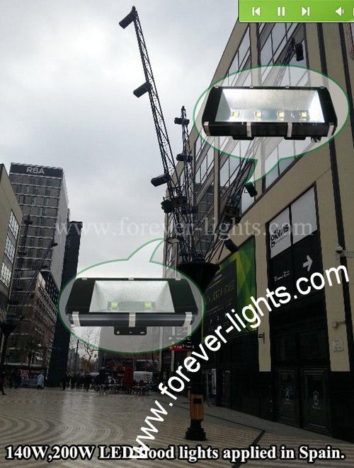 西班牙-140W和200W LED泛光灯用于巴塞罗那广场照明