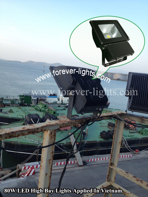 越南-120W LED工矿灯 和 80W LED泛光灯 应用越南海边码头照明