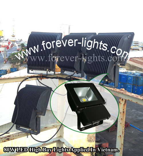 Vietnam,80w led flood lights and 120w led high bay lights applied in Vietnam