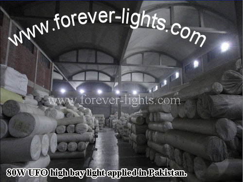 Pakistan,80W UFO led high bay lights applied in warehouse for lighting
