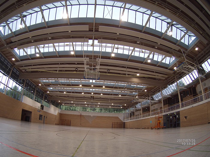 German,Our UFO high bay light is used for lighting of German indoor basketball court